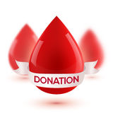 Red realistic blood drops with white ribbon and donation sign Stock Image