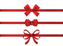 Free Red Realistic Bow. Horizontal Red Ribbon Collection. Holiday Gift Decoration, Valentine Present Tape Knot, Shiny Sale Royalty Free Stock Images - 162209599