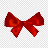 Red realistic 3d bow, isolated on transparent background. Vector illustration. Poster, card or brochure template Stock Photography