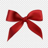 Red realistic 3d bow, isolated on transparent background. Vector illustration. Poster, card or brochure template Royalty Free Stock Photos