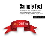 Red realistic detailed curved paper Merry Christmas banner isolated on white background. Vector illustration. Royalty Free Stock Image