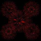 Red realistic fireworks. On the black background, Vector illustration Royalty Free Stock Images