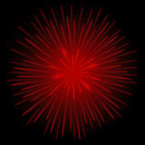 Red realistic fireworks. On the black background, Vector illustration Royalty Free Stock Image