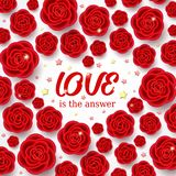 Red realistic flowers and stars with heart shape. Red realistic flowers and golden stars with heart shape. 3d roses on white background. Love design. Valentines Royalty Free Stock Photo
