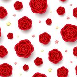 Red realistic flowers and stars seamless pattern. Red realistic flowers and golden stars seamless pattern. 3d roses on white background. Beautiful repeatable Royalty Free Stock Photography