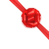 Red realistic gift wrapping silk satin bow tie. Design template for certificate, voucher, gift card, brochure. Stock Photo