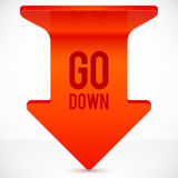 Red realistic plastic down vector arrow Royalty Free Stock Photography