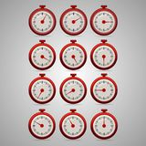 Red realistic timers, increments from 5 to 60. 5 minutes interval, 4 rows and 3 columns on gray background, for business or education. Seconds timer. Timing Stock Images