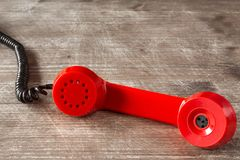 Red receiver of vintage telephone Royalty Free Stock Photography