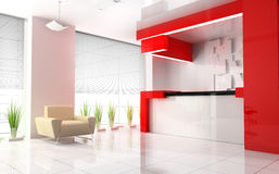 Red reception in modern hotel. 3d image