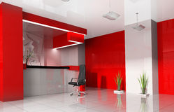 Red reception in modern hotel Stock Photo