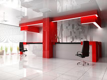 Red reception in modern hotel. 3d image Stock Photography