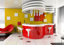 Red reception in modern hotel. 3d image Royalty Free Stock Images
