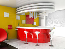 Red reception in modern hotel Royalty Free Stock Photo