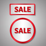 Red rectangle and circle sticker, text of sale Royalty Free Stock Photos