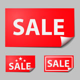 Red rectangle sticker, text of sale Stock Photo