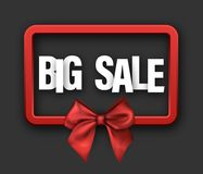 Red big sale card with bow. Red rectangular 3d big sale sign with satin bow. Vector illustration Stock Photo
