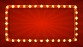 Red rectangular retro frame with glowing lamps Stock Photo