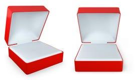 Red rectangular ring box, two views Stock Photo