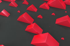 Red rectangular shapes of random size on black background. Wall of cubes. Abstract background. 3D rendering illustration Stock Image