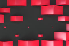 Red rectangular shapes of random size on black background. Wall of cubes. Abstract background. 3D rendering illustration Royalty Free Stock Image