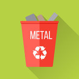 Red Recycle Garbage Bin with Metal. Reuse or reduce symbol. Metal recycle trash can. Trash can icon in flat. Waste recycling. Environmental protection. Vector stock illustration