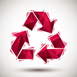 Red recycle geometric icon made in 3d modern style Stock Photos