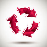 Red recycle geometric icon made in 3d modern style, best for use Stock Image
