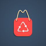 Red recycle shopping bag with shadow Stock Image