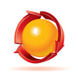 Red recycle symbol with sphere inside Royalty Free Stock Images