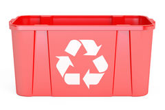 Red recycling bin, 3D rendering. On white background Stock Images