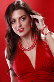 Red on red jewelry royalty free stock images