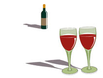 Red red wine. Two glasses and a bottle of red wine Royalty Free Stock Image