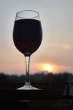Red red wine. Red wine on books at the sunset Royalty Free Stock Images