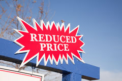 Red Reduced Price Burst Sign Stock Photos