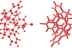 Red reflective molecules on white background Stock Image