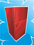 Red refrigerator. Illustration of Red refrigerator on a blue background Royalty Free Stock Images