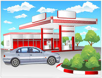 Red refuel station, BMW Royalty Free Stock Photo