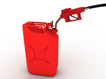 Red refueling hose. And gas can Stock Image