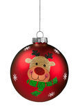 Red Reindeer Glitter Christmas Ball Royalty Free Stock Images