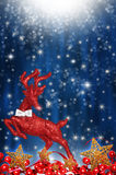 Red reindeer with stars Stock Photo