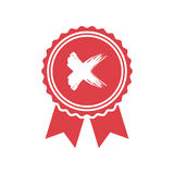 Red rejected or certified medal icon in a flat design royalty free illustration