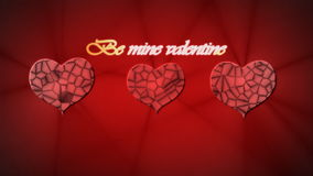Red relief heart with inscription Be mine Valentine on red backgroun for stock video footage
