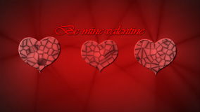 Red reliefed hearts and inscription Be mine Valentine animation for Valentine's stock video footage