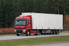 Red Renault Trucks T Semi on Motorway Royalty Free Stock Photo