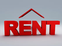 Red rent house 3d Stock Photography