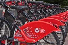 Red Rental Cycle Fleet Stock Photos