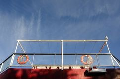 Red rescue buoys. On ferry boat and blue sky Royalty Free Stock Images