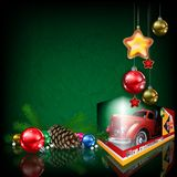 Red rescue truck Christmas illustration Royalty Free Stock Photography