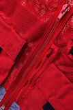 Red rescue vest. Red rescue vest closed zippers - front view Stock Photo